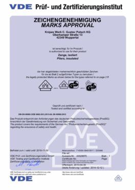 Certyfikat - Szczypce izolowane VDE